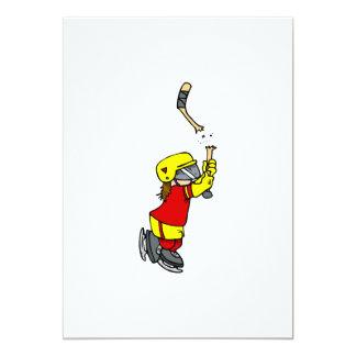 """Jugador de hockey quebrado del palillo invitación 5"""" x 7"""""""