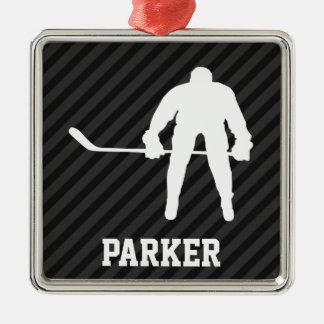 Jugador de hockey; Rayas negras y gris oscuro Adorno Navideño Cuadrado De Metal