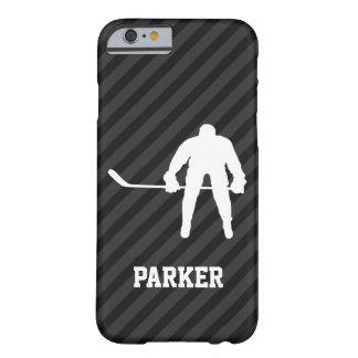Jugador de hockey; Rayas negras y gris oscuro Funda Barely There iPhone 6