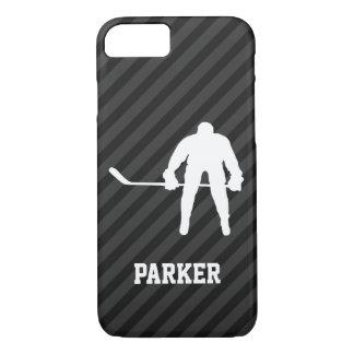 Jugador de hockey; Rayas negras y gris oscuro Funda iPhone 7