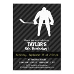"""Jugador de hockey; Rayas negras y gris oscuro Invitación 5"""" X 7"""""""