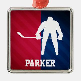 Jugador de hockey; Rojo, blanco, y azul Adorno Navideño Cuadrado De Metal