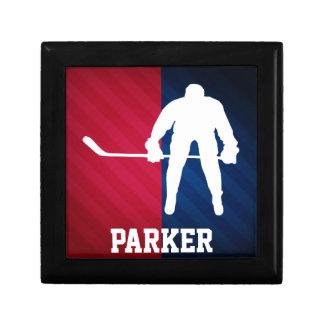 Jugador de hockey; Rojo, blanco, y azul Joyero Cuadrado Pequeño