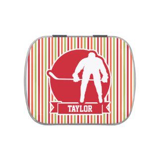 Jugador de hockey rojo y blanco, rojo, naranja, latas de caramelos