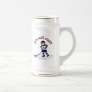Jugador de hockey rubio de los chicas jarra de cerveza