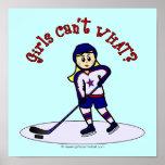 Jugador de hockey rubio de los chicas póster