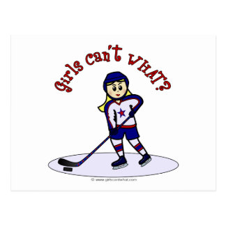 Jugador de hockey rubio de los chicas postal