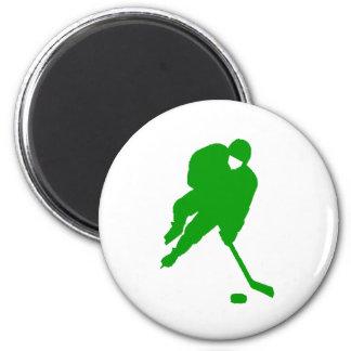 Jugador de hockey verde imán redondo 5 cm