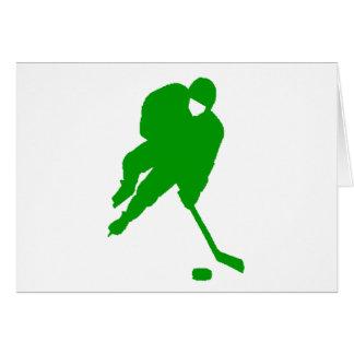 Jugador de hockey verde tarjeta de felicitación