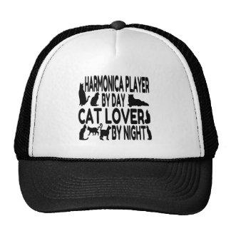 Jugador de la armónica del amante del gato gorros bordados