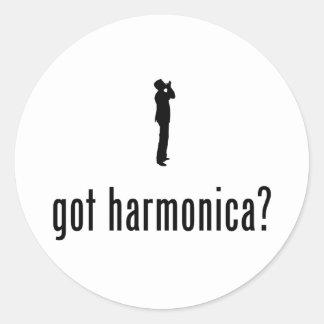 Jugador de la armónica pegatina redonda