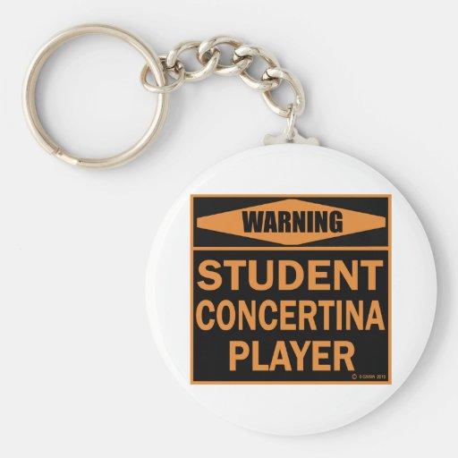 Jugador de la concertina del estudiante llavero redondo tipo pin