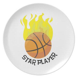 Jugador de la estrella plato para fiesta