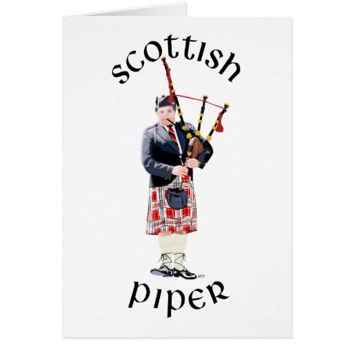 Jugador de la gaita en falda escocesa roja felicitación