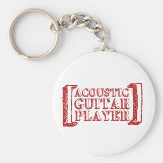 Jugador de la guitarra acústica llavero redondo tipo pin