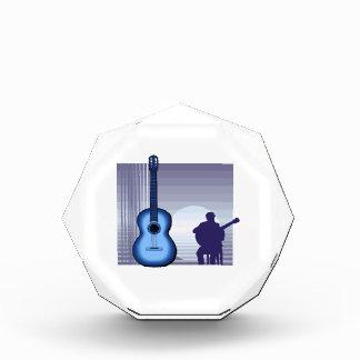 jugador de la guitarra acústica que sienta bluish.