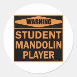 Jugador de la mandolina del estudiante pegatina redonda