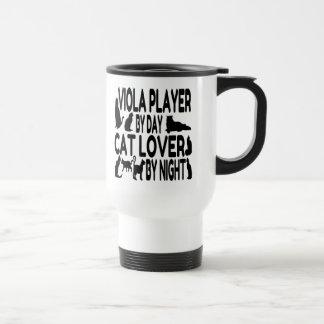Jugador de la viola del amante del gato taza de viaje