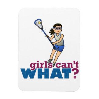 Jugador de LaCrosse del chica en azul Imán Rectangular
