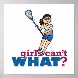 Jugador de LaCrosse del chica en azul Posters