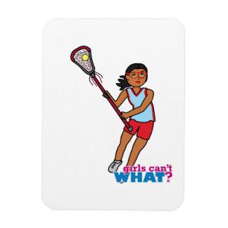 Jugador de LaCrosse del chica - oscuridad Imanes De Vinilo
