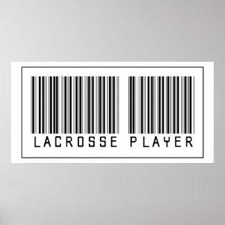 Jugador de LaCrosse del código de barras Póster