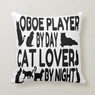 Jugador de Oboe del amante del gato Cojín Decorativo