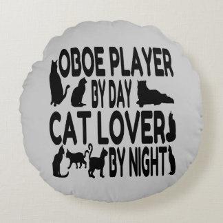 Jugador de Oboe del amante del gato Cojín Redondo