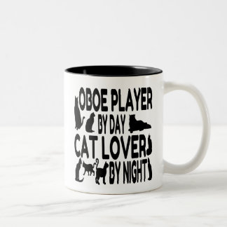 Jugador de Oboe del amante del gato Taza Dos Tonos