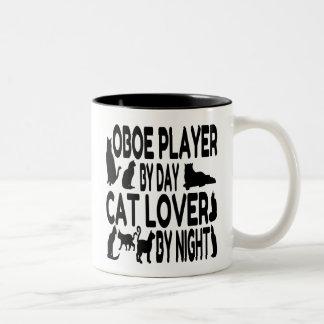 Jugador de Oboe del amante del gato Taza De Dos Tonos
