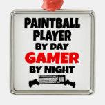 Jugador de Paintball del videojugador Adorno Cuadrado Plateado