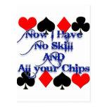 Jugador de póker de juego tarjeta postal