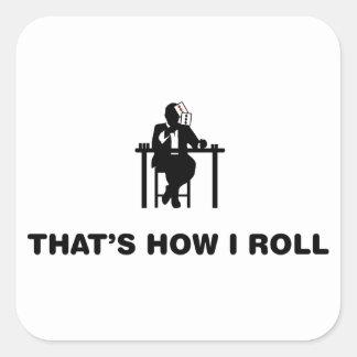 Jugador de póker pegatina cuadrada