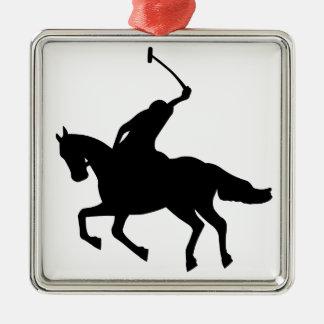 Jugador de polo a caballo. adorno navideño cuadrado de metal