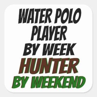 Jugador de polo del agua de la caza pegatina cuadrada