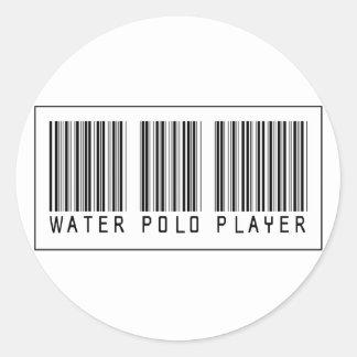 Jugador de polo del agua del código de barras pegatina redonda