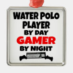 Jugador de polo del agua del videojugador ornamentos de navidad