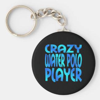 Jugador de polo loco del agua llavero redondo tipo pin