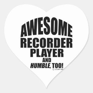 Jugador de registrador impresionante pegatina en forma de corazón