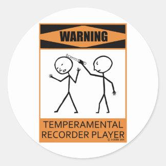 Jugador de registrador temperamental amonestador pegatina redonda