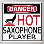 Jugador de saxofón caliente impresiones