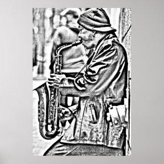 Jugador de saxofón de la calle, San Francisco Posters