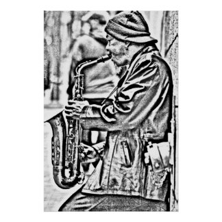 Jugador de saxofón de la calle, San Francisco Póster
