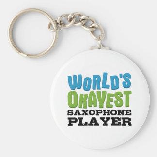 Jugador de saxofón de Okayest del mundo Llavero Redondo Tipo Pin