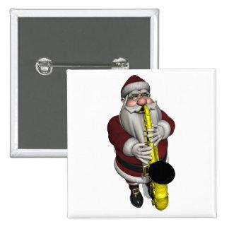 Jugador de saxofón de Papá Noel Pin Cuadrado