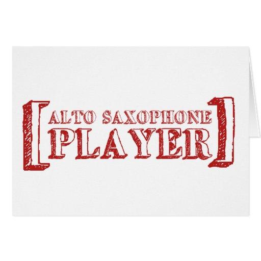 Jugador de saxofón del alto tarjetón