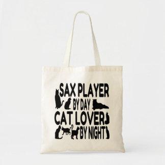 Jugador de saxofón del amante del gato bolsa de mano