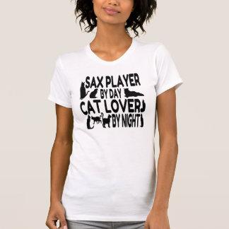 Jugador de saxofón del amante del gato playera