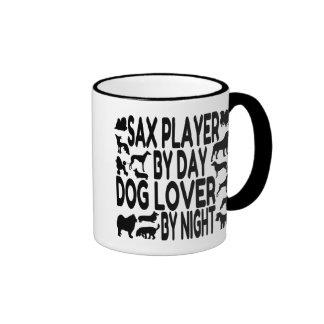 Jugador de saxofón del amante del perro tazas de café