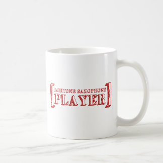 Jugador de saxofón del barítono taza de café